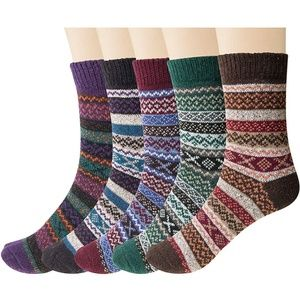 Accessories - Womens 5 Pairs Vintage Style Thick Crew Socks